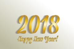 Vector del oro de la Feliz Año Nuevo 2018 Fotos de archivo libres de regalías