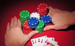 Vector del póker. Todos adentro con cuatro de una clase. Imagen de archivo libre de regalías