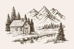 Vector del paisaje de la montaña ilustración del vector
