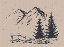 Vector del paisaje de la montaña stock de ilustración