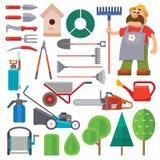 Vector del plano del equipo de jardín y carácter determinados del jardinero con el ejemplo de la barba y del rastrillo ilustración del vector