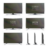 Vector del plasma LCD de la pantalla Televisión Pantalla curvada y plana lcd, plasma de la TV Dos caras Aislado en el fondo blanc Fotos de archivo