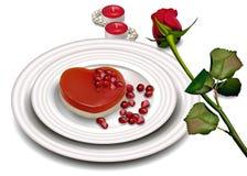 Vector del postre de la forma del corazón realista Colores suaves rojos y blancos de la tarjeta romántica dulce del día de San Va Fotos de archivo libres de regalías