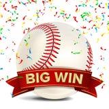 Vector del premio del béisbol Cinta roja Fondo grande de la bandera del triunfo del juego del deporte Bola blanca, puntadas rojas ilustración del vector