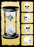 vector del reloj de arena y del cráneo   Imagenes de archivo