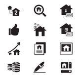 vector del símbolo del ejemplo de los iconos de las propiedades inmobiliarias de la silueta Imagenes de archivo