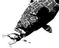 Vector del señuelo de los pescados negros del mero que ataca Foto de archivo
