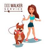 Vector del servicio del perro que camina Animal doméstico care Ejercicio de perros en parque Ejemplo plano del personaje de dibuj stock de ilustración