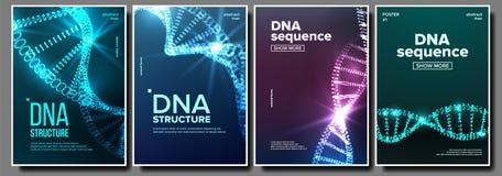 Vector del sistema del cartel de la DNA Aviador de la bioquímica Símbolo de la evolución Cromosoma sano Célula de Digitaces Bande ilustración del vector
