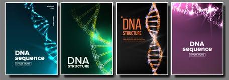 Vector del sistema del cartel de la DNA Concepto de la biotecnología Fondo de la ciencia Filamento, secuencia Cubierta de la quím libre illustration