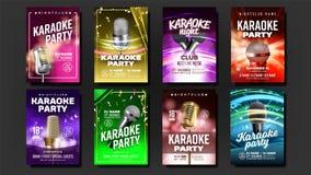 Vector del sistema del cartel del Karaoke Noche de la música Cante la canción Acontecimiento de la danza Estudio del vintage Barr ilustración del vector