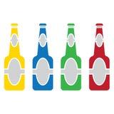 Vector del sistema coloreado de la botella de cerveza Imágenes de archivo libres de regalías