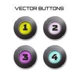 Vector del sistema de etiqueta 4 botones del color con el vidrio Iconos libre illustration