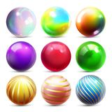 Vector del sistema de la esfera del brillo Bola brillante del orbe Metal que brilla intensamente o círculo abstracto plástico Ico ilustración del vector