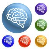 Vector del sistema de los iconos del cerebro stock de ilustración