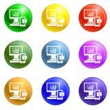 Vector del sistema de los iconos del dispositivo de la calculadora numérica stock de ilustración
