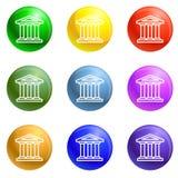 Vector del sistema de los iconos del edificio de banco ilustración del vector