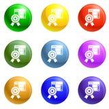 Vector del sistema de los iconos del emblema de la estrella stock de ilustración