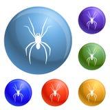 Vector del sistema de los iconos de la araña ilustración del vector