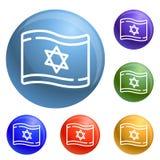 Vector del sistema de los iconos de la bandera de Israel stock de ilustración