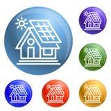 Vector del sistema de los iconos de la casa de Eco stock de ilustración