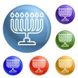 Vector del sistema de los iconos de Menorah stock de ilustración
