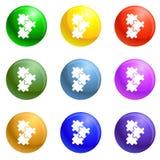Vector del sistema de los iconos del rompecabezas stock de ilustración