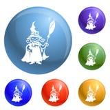 Vector del sistema de los iconos del traje de la bruja del niño stock de ilustración