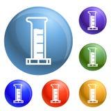 Vector del sistema de los iconos del tubo de ensayo ilustración del vector