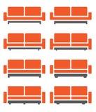 Vector del sofá y del sofá en color anaranjado Foto de archivo