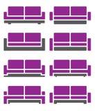Vector del sofá y del sofá en el color violeta Fotos de archivo libres de regalías