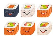 Vector del sushi de la diversión Sushi lindo con las caras lindas Sistema del rollo de sushi Caracteres felices del sushi Fotografía de archivo libre de regalías