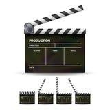 Vector del tablero de chapaleta Chapaleta negra del cine aislada en un fondo blanco Fotografía de archivo libre de regalías