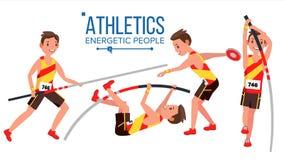 Vector del varón del jugador del atletismo Competencia de deporte atlético Equipo de deportes sprinter Comienzo de Sprint Plano a libre illustration