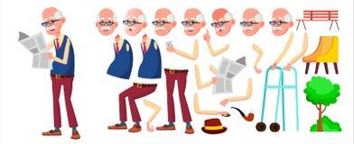 Vector del viejo hombre Person Portrait mayor Personas mayores envejecido Sistema de la creación de la animación Emociones de la  stock de ilustración