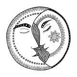 Vector del zentangl de la luna Hombre y mujer en amor Beso y romance Imagen de archivo libre de regalías