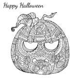 Vector del zentangle de la calabaza en Halloween Fotos de archivo libres de regalías