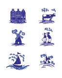 Vector Delft Blue dutch holland folk pictures. Isolated royalty free illustration