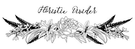 Vector Delicate Floral Text Divider. Flower Design Element. Black Hand Drawn Floral Divider, Line Border with Delicate Flowers and Leaves. Decorative Outlined Royalty Free Stock Images