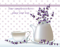 Vector delicate Tea time card. herbs banners with lavender. Design for herbal tea, natural cosmetics, health care. Products, homeopathy, aromatherapy. Place for Stock Photo