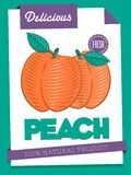 Vector delicious peach poster Royalty Free Stock Images