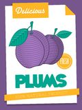 Vector delicious plums poster Royalty Free Stock Images