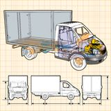 Vector delivery / cargo truck infographics cutaway. Available ai-10  format separated by groups for easy edit Stock Images