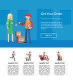 Vector delivery flat elements website landing page template illustration royalty free illustration