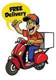Delivery guy riding scooter vector illustration