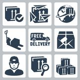 Vector delivery icons set Royalty Free Stock Images