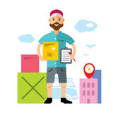 Vector Delivery man. Flat style colorful Cartoon illustration. Royalty Free Stock Photo