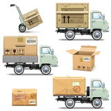 Vector Delivery Retro Light Truck Stock Image