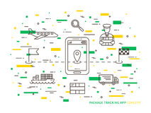 Vector delivery tracking linear illustration Royalty Free Stock Photo