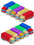 Vector delivery truck isometric set Royalty Free Stock Image